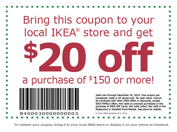 IKEA Coupon February 2017 $20 off $150 at IKEA