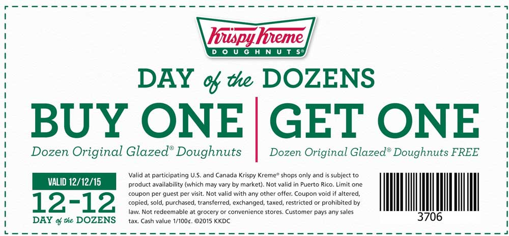 Krispy Kreme Coupon January 2016 Second dozen doughnuts free the 12th at Krispy Kreme