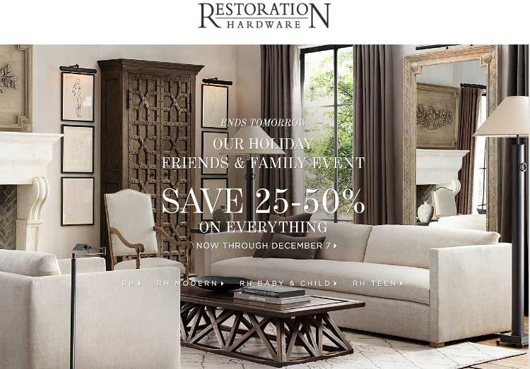 Restoration Hardware Coupon August 2017 25-50% off everything at Restoration Hardware, ditto online