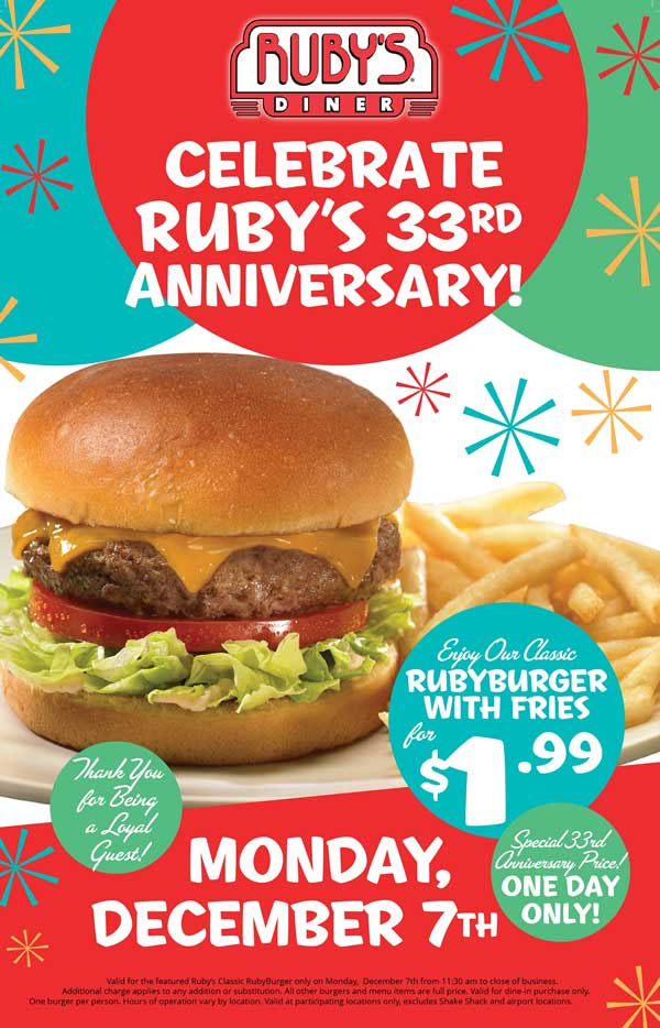 Rubys Diner Coupon August 2018 $2 cheeseburger + fries Monday at Rubys Diner