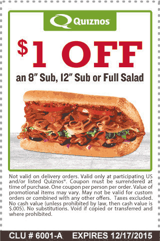 Quiznos Coupon February 2017 $1 off a sub or salad at Quiznos