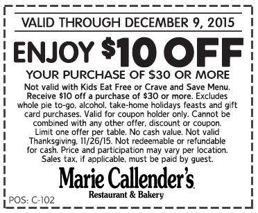 Marie Callenders Coupon April 2017 $10 off $30 at Marie Callenders restaurant & bakery