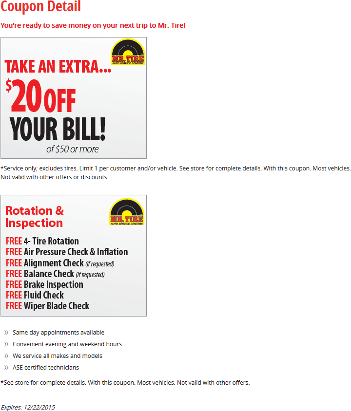 Mr. Tire Coupon August 2017 Free rotation & $20 off $50 at Mr. Tire