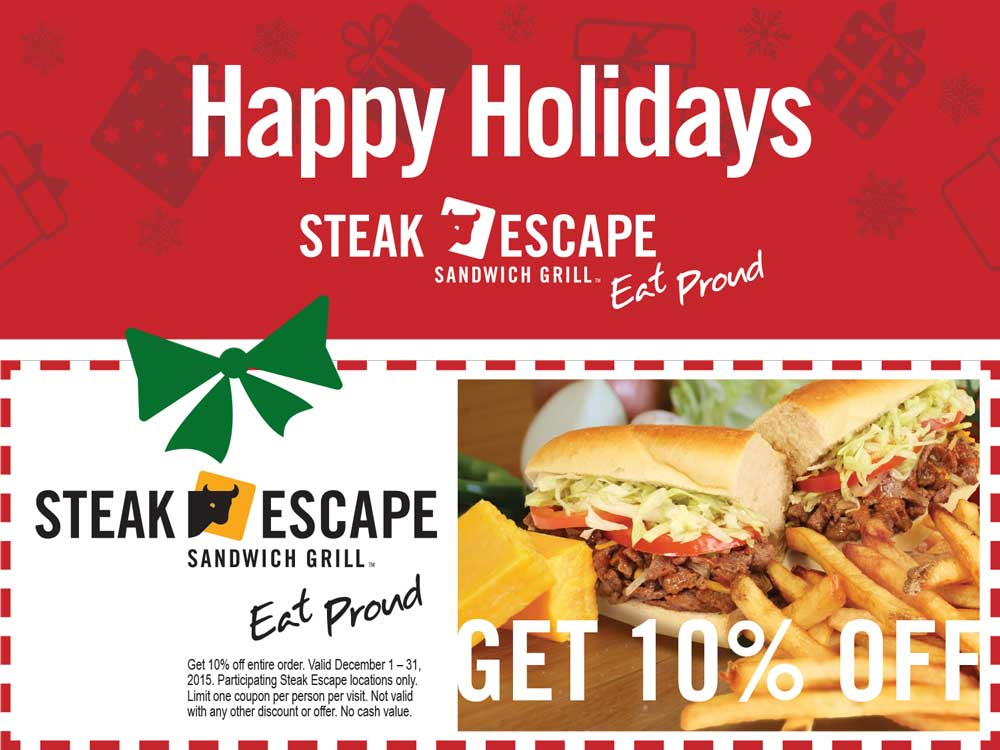 Steak Escape Coupon August 2017 10% off at Steak Escape sandwich grill