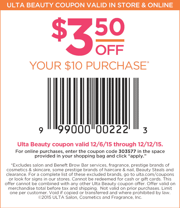 Ulta Coupon July 2017 $3 off $10 at Ulta Beauty, or online via promo code 303577