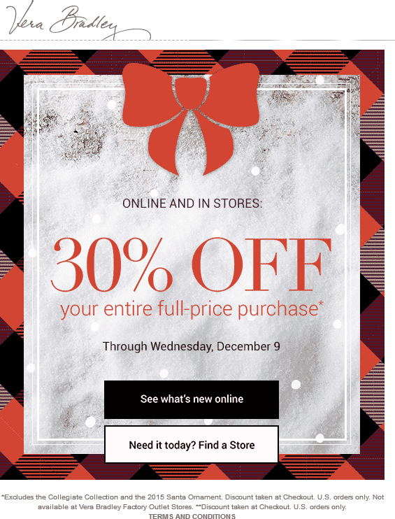 Vera Bradley Coupon February 2018 30% off at Vera Bradley, ditto online