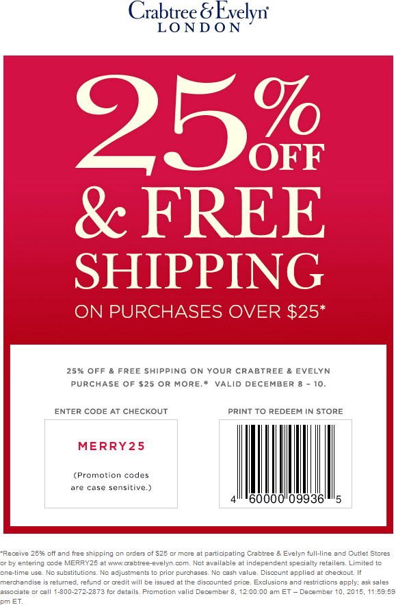Crabtree & Evelyn Coupon January 2017 25% off at Crabtree & Evelyn, or online via promo code MERRY25