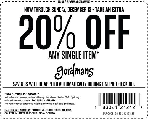 Gordmans Coupon March 2017 20% off a single item at Gordmans