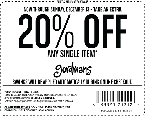 Gordmans Coupon January 2018 20% off a single item at Gordmans