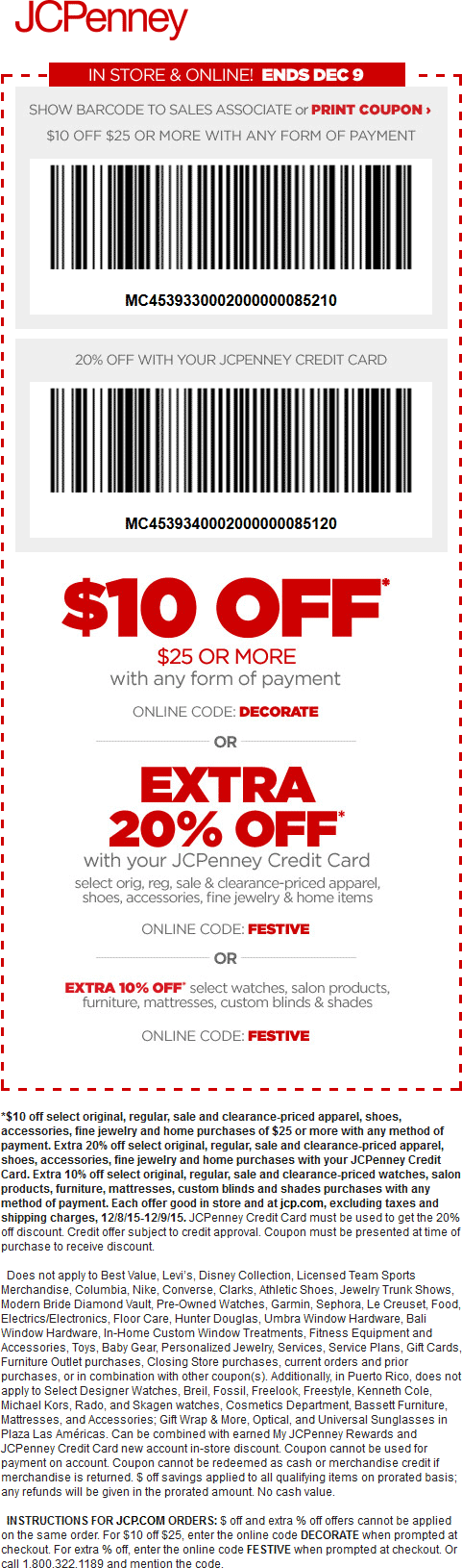JCPenney Coupon November 2018 $10 off $25 today at JCPenney, or online via promo code DECORATE