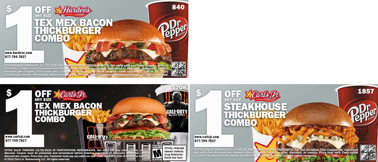 Hardees Coupon January 2018 Shave a buck off your burger combo meal at Hardees & Carls Jr.