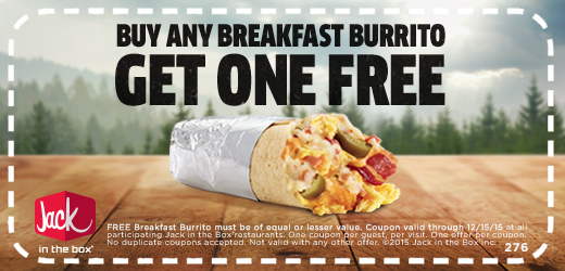 Jack in the Box Coupon April 2018 Second breakfast burrito free at Jack in the Box