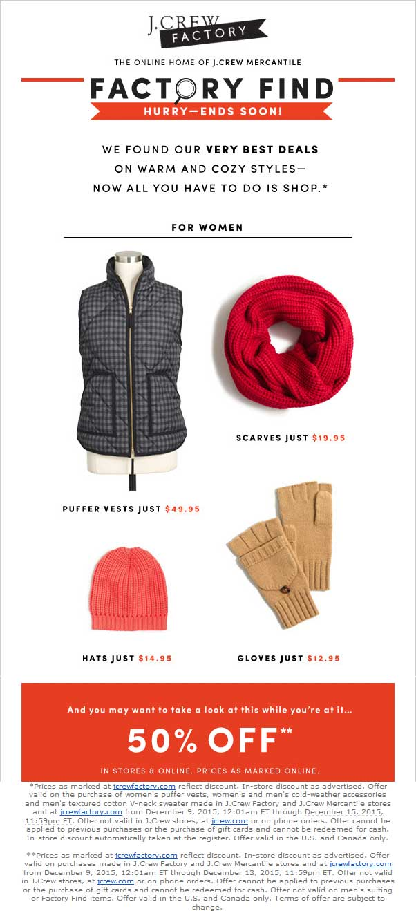 J.Crew Factory Coupon February 2017 Extra 50% off at J.Crew Factory, ditto online