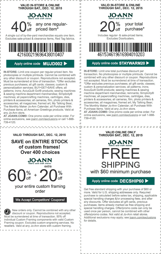 Jo-Ann Fabric Coupon October 2016 20% off everything, 40% off a single item at Jo-Ann Fabric, or online via promo code MUJD002