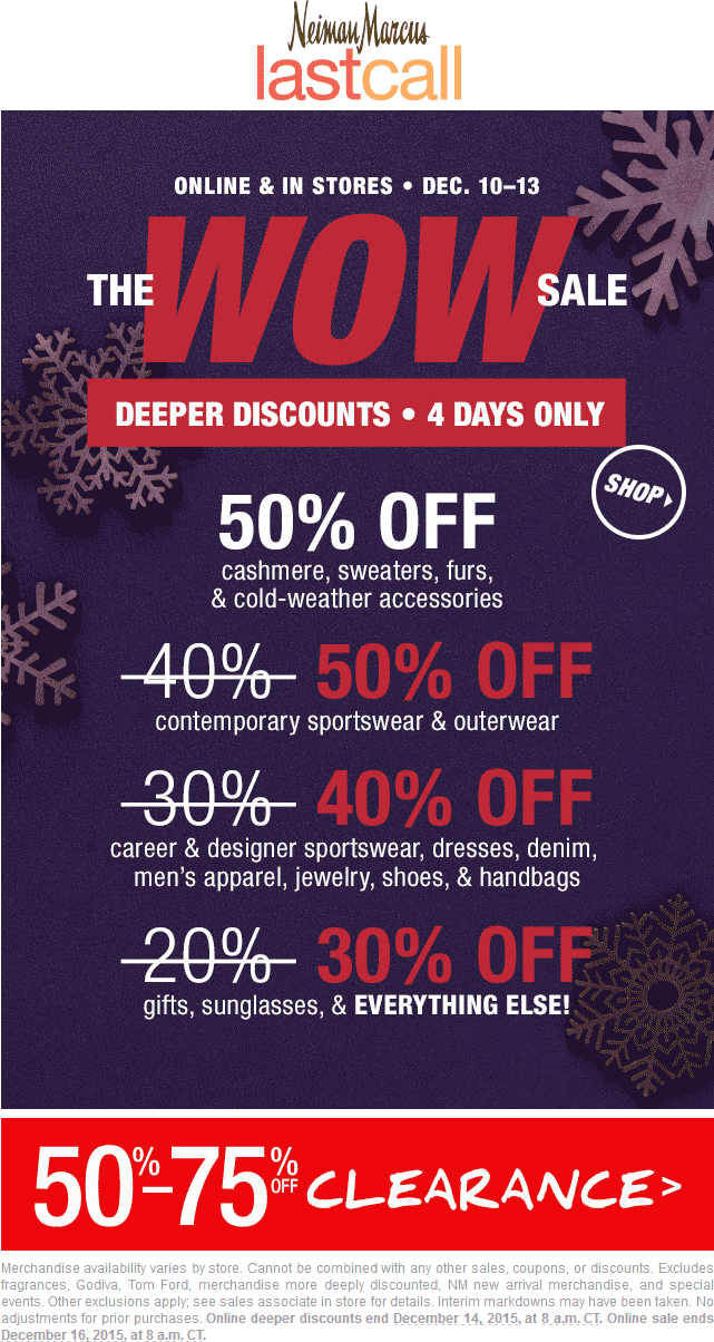 Last Call Coupon February 2019 30-50% off everything at Neiman Marcus Last Call, ditto online