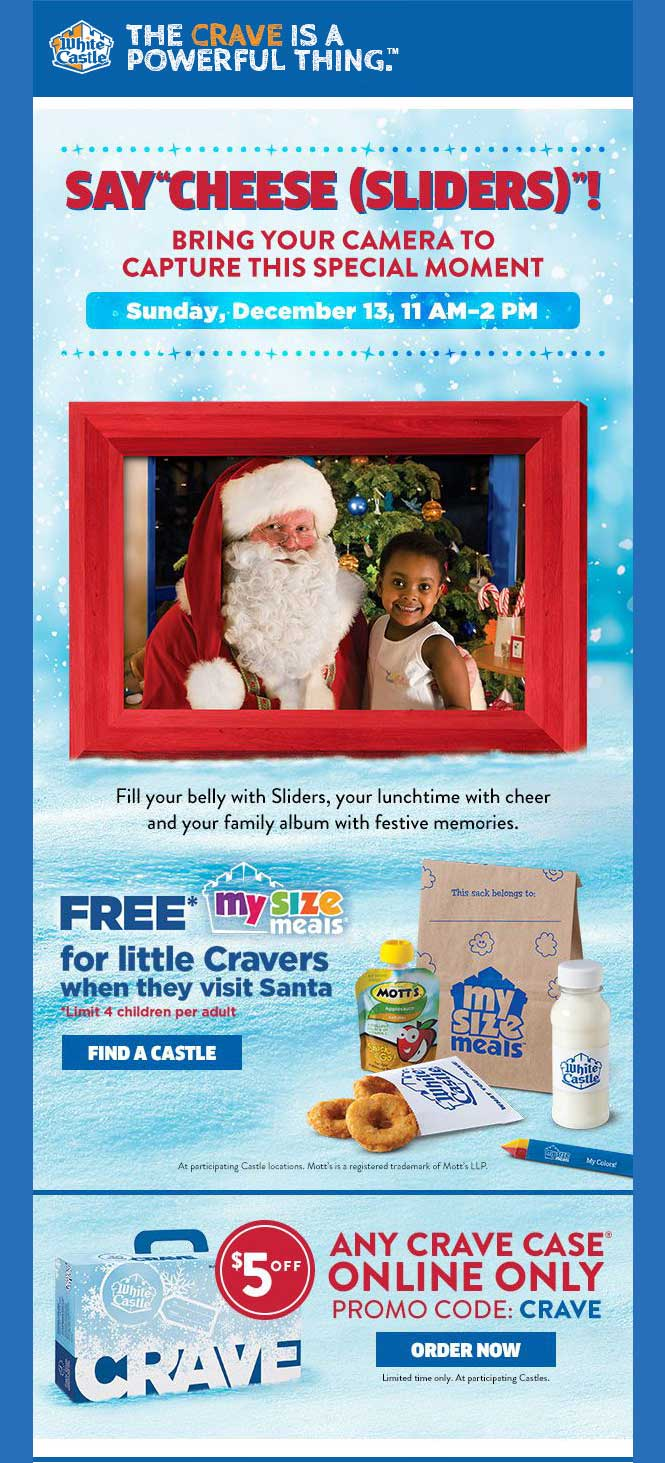 White Castle Coupon April 2018 Free kids meal + photo with Santa Sunday at White Castle