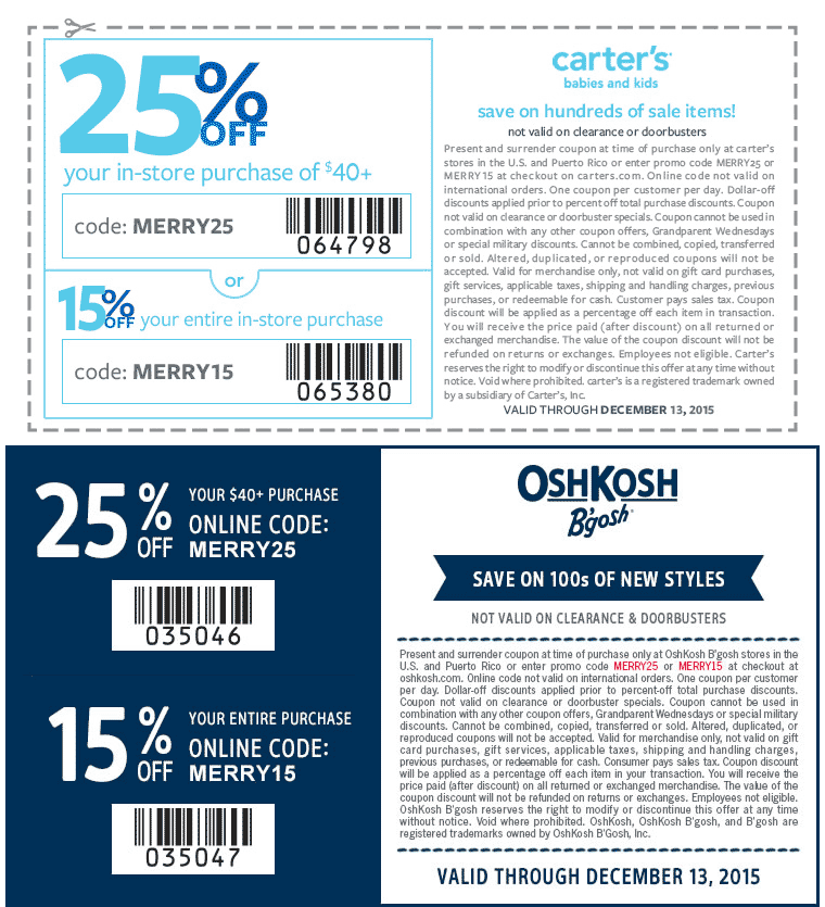 Carters Coupon April 2017 15-25% off at Carters & OshKosh Bgosh, or online via promo code MERRY15