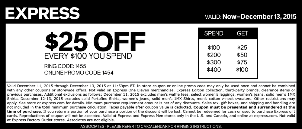 Express Coupon July 2019 $25 off every $100 at Express, or online via promo code 1454