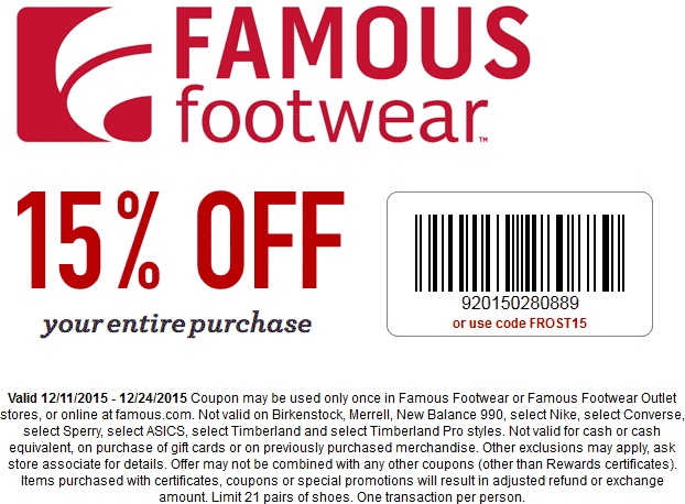 Famous Footwear Coupon January 2017 15% off at Famous Footwear, or online via promo code FROST15
