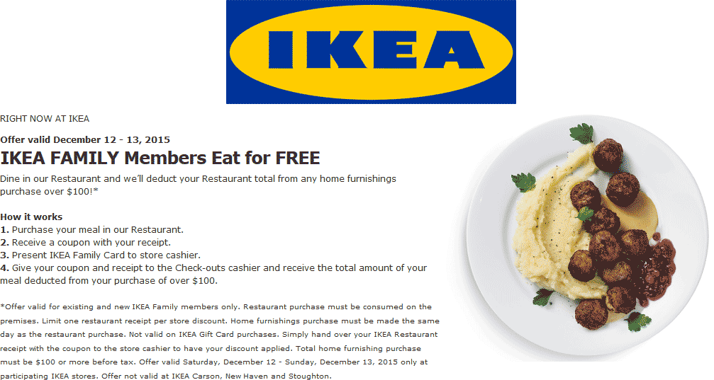 IKEA Coupon August 2017 Eat free with $100 spent at IKEA furniture