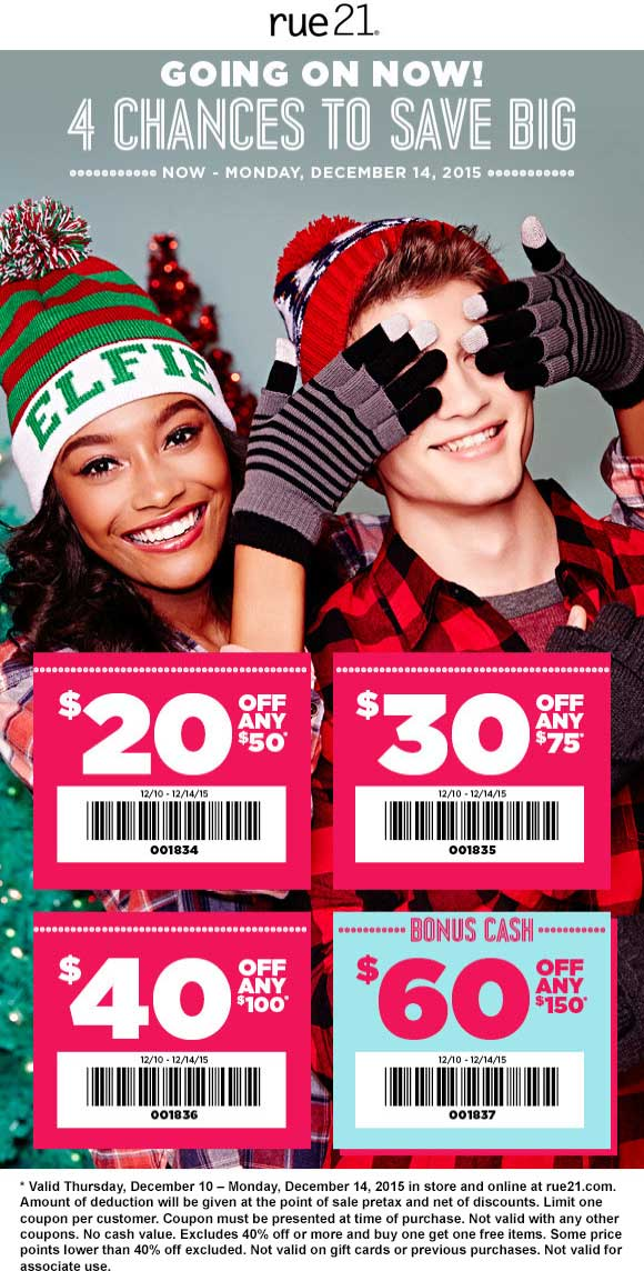 Rue21 Coupon December 2017 $20 off $50 & more at rue21, or online via promo code 001838