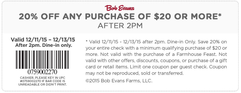 Bob Evans Coupon July 2017 20% off at Bob Evans restaurants