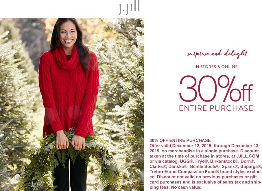 J.Jill Coupon June 2017 30% off everything at J.Jill, ditto online