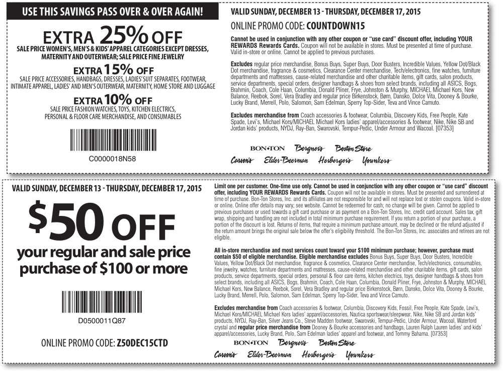 Carsons Coupon January 2018 $50 off $100 & 25% off sale apparel at Carsons, Bon Ton & sister stores, or online via promo codes Z50DEC15CTD & COUNTDOWN15