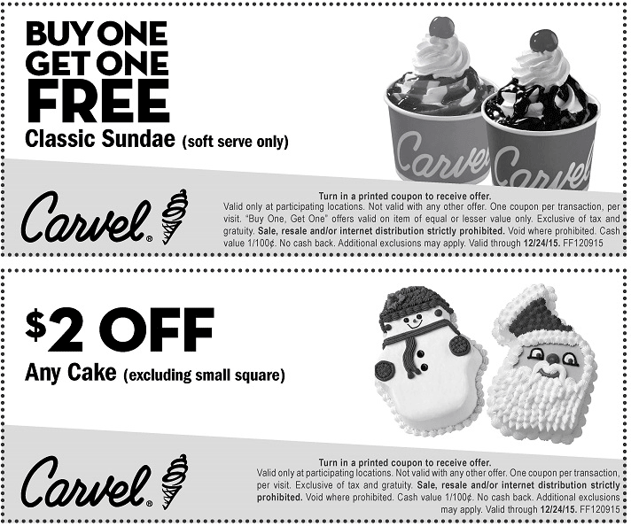 Carvel Coupon May 2017 Second ice cream sundae free at Carvel