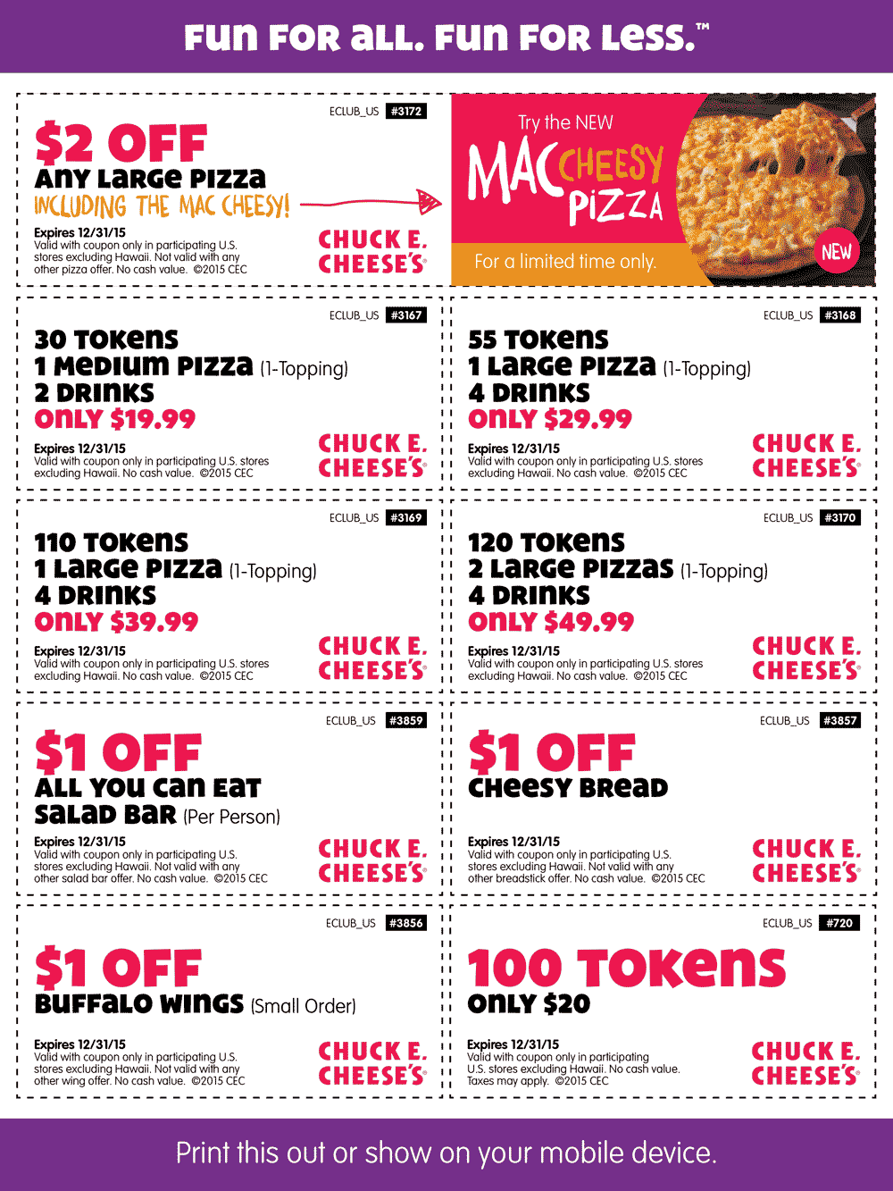 Chuck E. Cheese Coupon November 2018 100 game tokens for $20 & more at Chuck E. Cheese