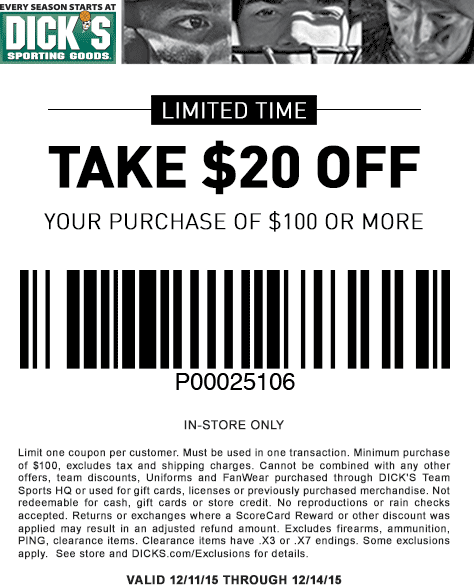 Dicks Coupon May 2018 $20 off $100 at Dicks Sporting Goods