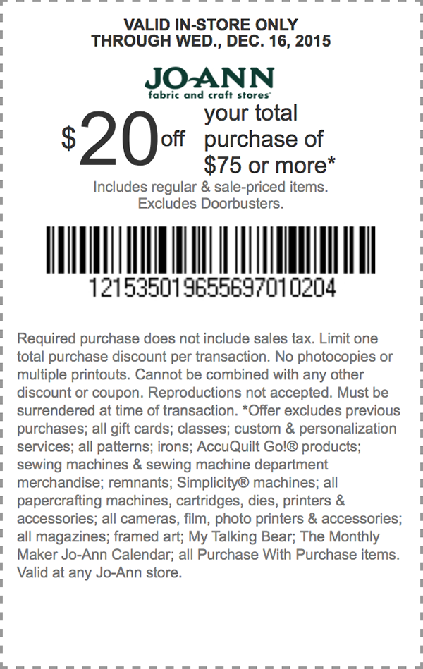 Jo-Ann Fabric Coupon January 2017 $20 off $75 at Jo-Ann Fabric