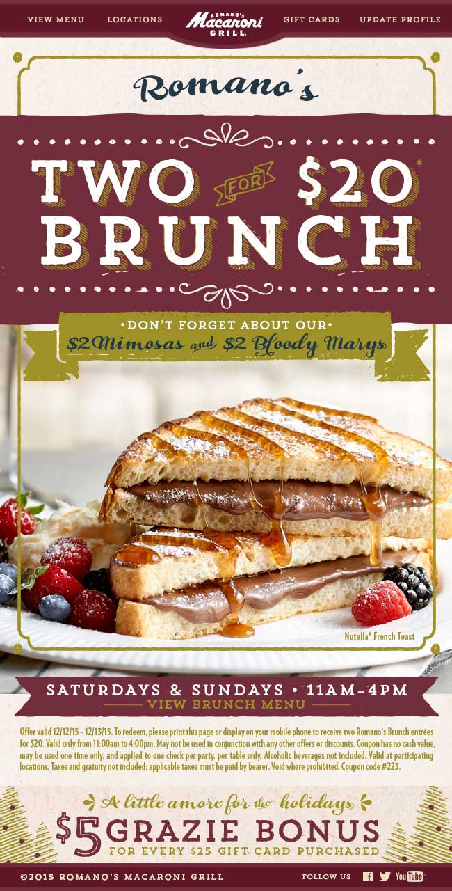 Macaroni Grill Coupon May 2017 Brunch is 2 for $20 today at Macaroni Grill