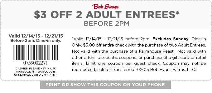Bob Evans Coupon August 2018 $3 off a couple entrees at Bob Evans