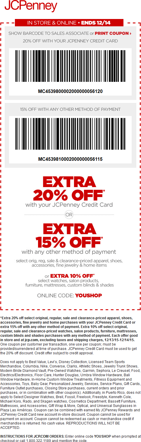 JCPenney Coupon May 2017 15% off today at JCPenney, or online via promo code YOUSHOP