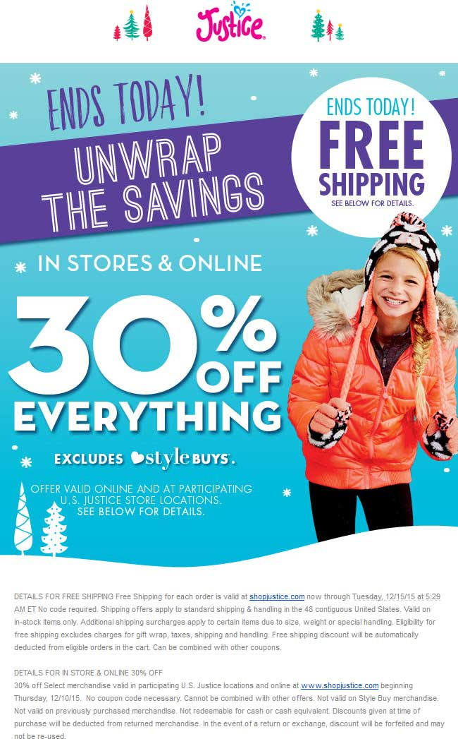 Justice Coupon December 2016 30% off everything today at Justice, ditto online