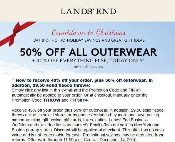 Lands End Coupon September 2018 40% off everything today at Lands End, or online via promo code THROW and pin 3014