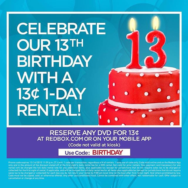 Redbox Coupon May 2017 DVD rental for 13 cents today at Redbox via promo code BIRTHDAY