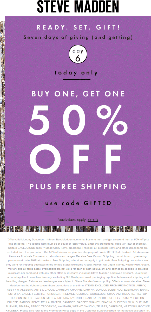 Steve Madden Coupon May 2018 Second item 50% off online today at Steve Madden via promo code GIFTED