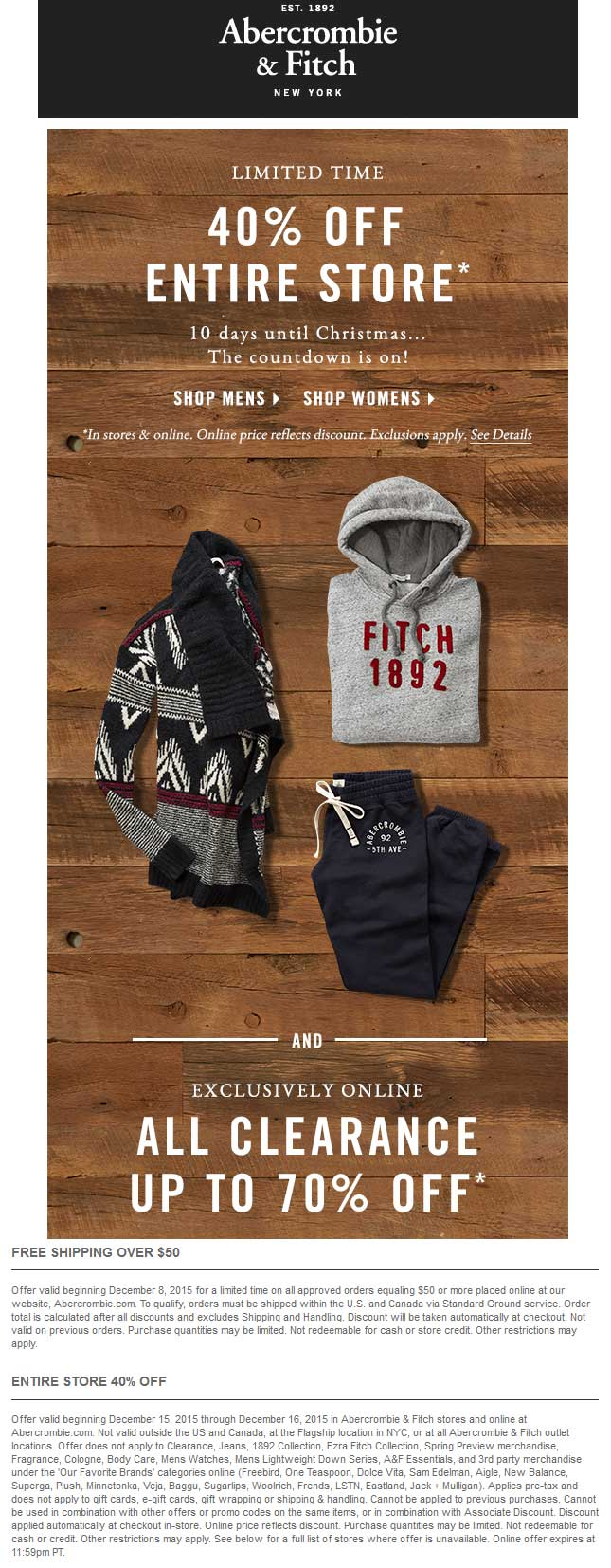 Abercrombie & Fitch Coupon July 2018 40% off everything at Abercrombie & Fitch, ditto online