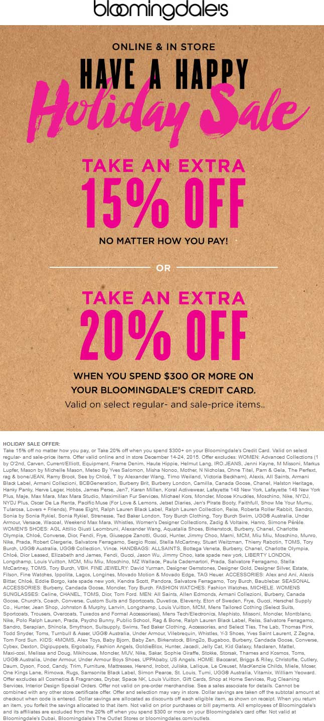 Bloomingdales Coupon January 2018 15% off at Bloomingdales, ditto online