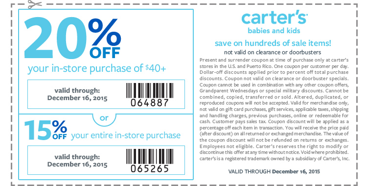 Carters Coupon July 2017 15-20% off at Carters, or online via promo code SAVEDEC