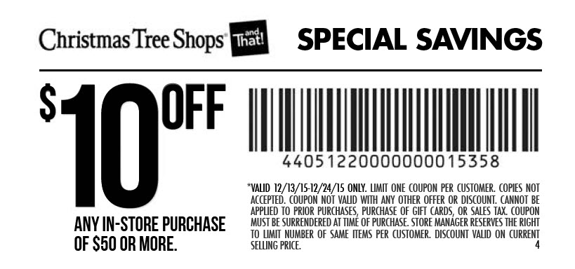 Christmas Tree Shops Coupon March 2018 $10 off $50 at Christmas Tree Shops