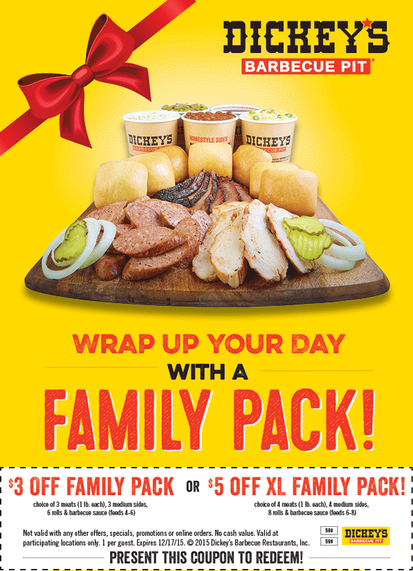 Dickeys Barbecue Pit Coupon July 2018 $3-$5 off a family pack at Dickeys Barbecue Pit