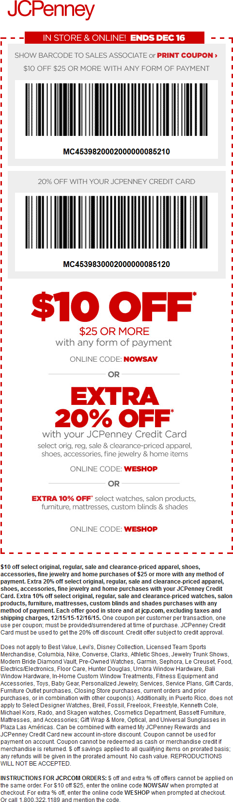 JCPenney Coupon October 2016 $10 off $25 at JCPenney, or online via promo code NOWSAV