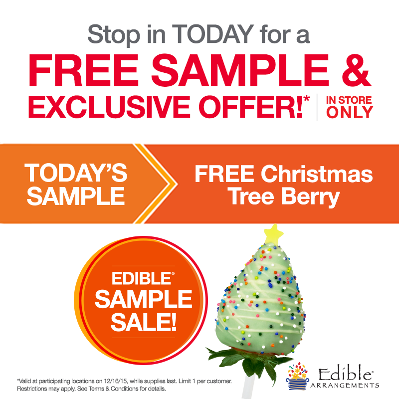 Edible Arrangements Coupon January 2018 Free Christmas tree berry today at Edible Arrangements