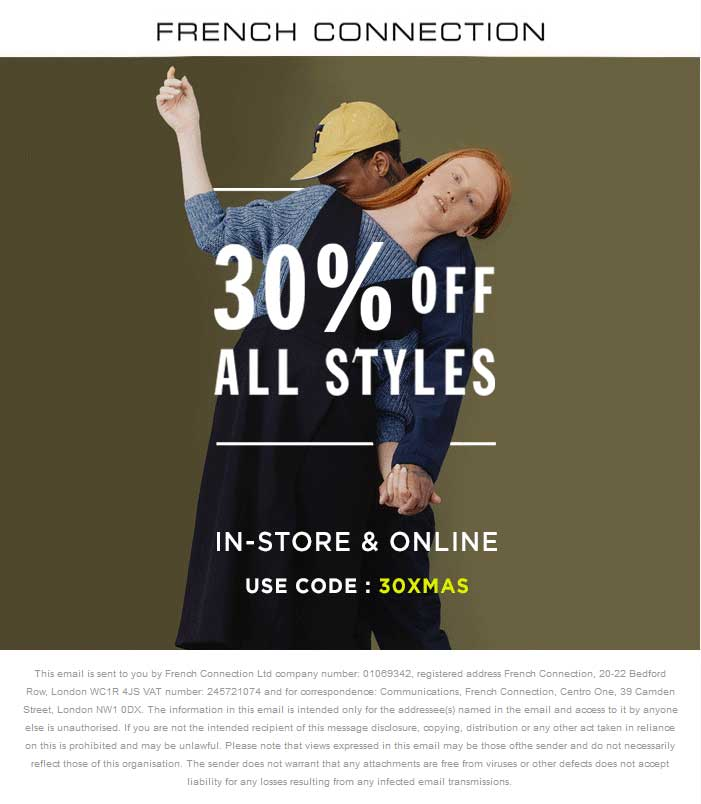 French Connection Coupon March 2017 30% off everything at French Connection, or online via promo code 30XMAS