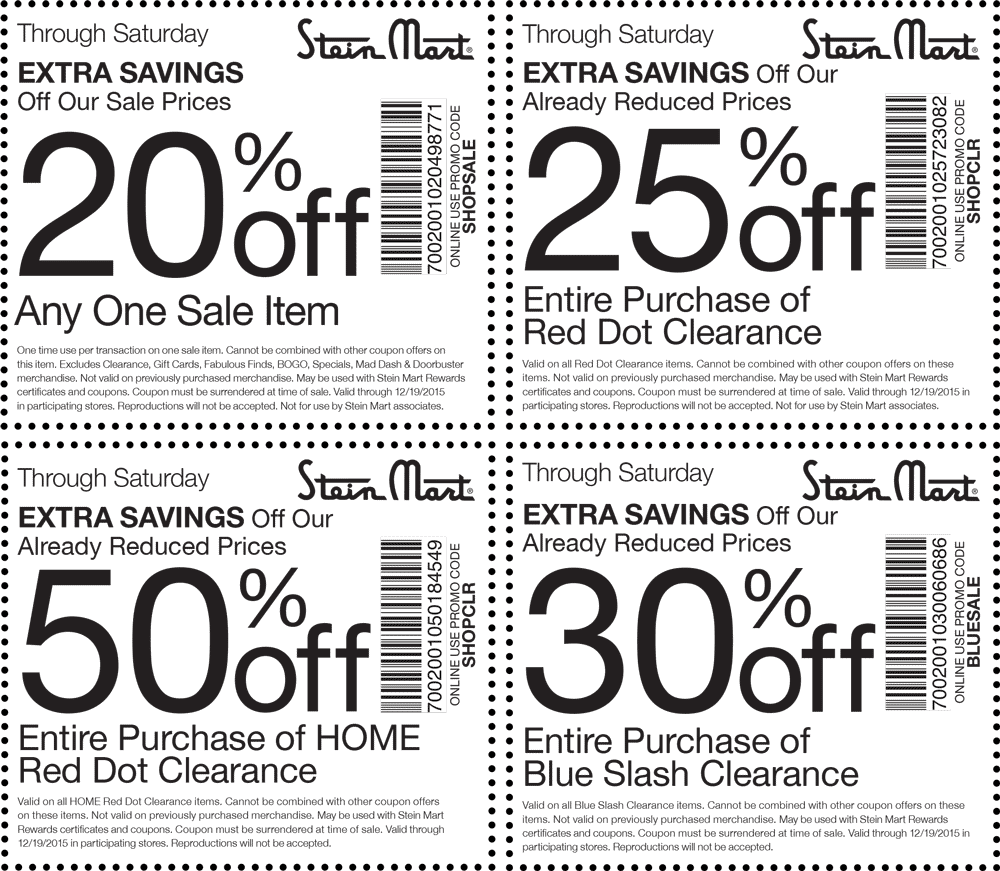Stein Mart Coupon November 2018 Extra 20% off a single sale item & more at Stein Mart, or online via promo code SHOPSALE