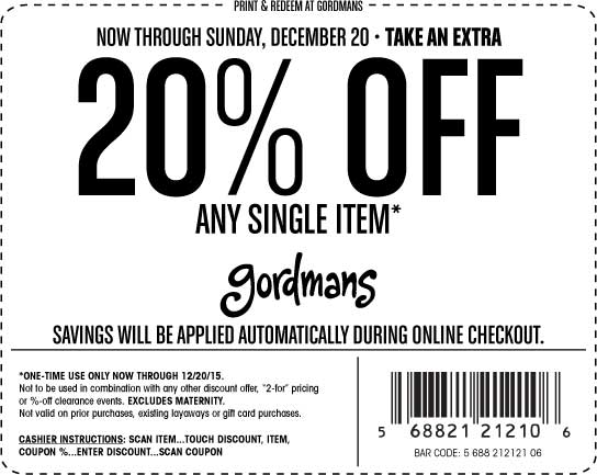 Gordmans Coupon January 2017 20% off a single item at Gordmans, ditto online