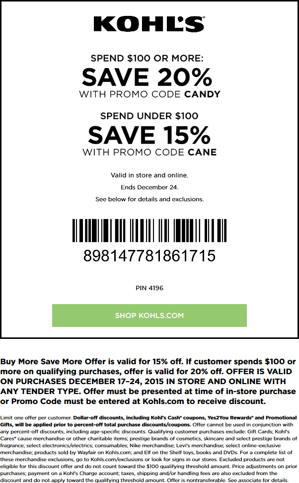 Kohls Coupon November 2018 15-20% off at Kohls, or online via promo code CANDY or CANE